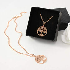 Women Rose Gold Silver Tree of Life Owl Crystal Chain Pendant Necklace Jewelry