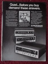 1974 Print Ad Pioneer QUAD QX Stereo Receivers ~ Demand Answers Before You Buy