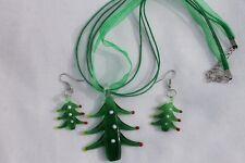 Christmas Tree w/Green Ribbon Lampwork  Earring & Necklace Costume Jewelry Set