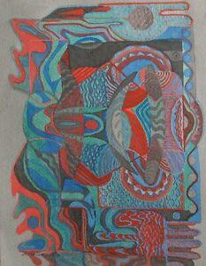 "STAN TERLECKI AUSTRALIAN WC & INK ""COLOR ABSTRACT DESIGN"" 1980 A"