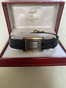 Original Must  De Cartier Vermeil  Quartz Damenuhr, 925 Silber⛔️Defekt⛔️in Box