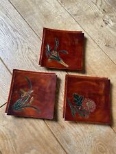 Vintage Japanese Lacquerware, Trinket Plate, Set Of 3