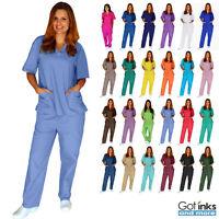 Unisex Men/Women Medical Hospital Nursing Uniforms Scrub Set Top & Pants 2XS-5XL