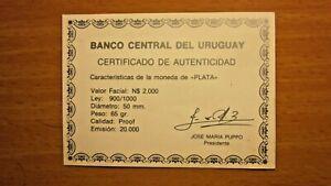 Uruguay silver 2,000 Pesos COA leaflet