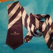 Stockton University gray black vintage necktie tie Hand made Wolfmark Wolf Mark