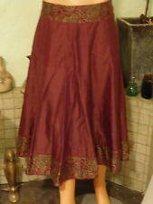 Anokhi for east maroon skirt with floral top and hem cotton and silk size 10