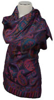 Schal 100% Seide Blau Paisley silk scarf foulard écharpe soie sciarpa sete