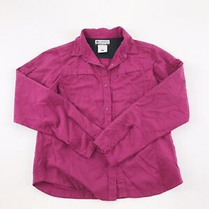 Columbia Omni-Shade Shirt Girl's Large Purple Long Sleeve Vented Snap Youth L