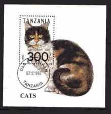 Chats Tanzanie (7) bloc oblitéré