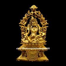 Tibet Buddhism Dragon Yellow Jambhala Nepal Bronze 24 Gold Buddha Statue 43cm