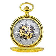 Mens Skeleton Pocket Watch Mechanical Carved Half Hunter Gold Case Hand Wind