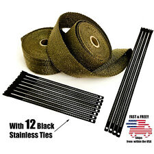 """Titanium Lava Exhaust Wrap Thermal Tape 2 Rolls 2"""" x 50ft Black Stainless Ties"""