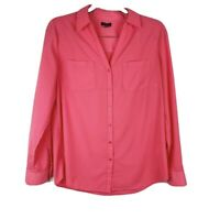 Talbots Womens Pink Long Sleeve Button Up Blouse Roll Tab Sleeve Size 10