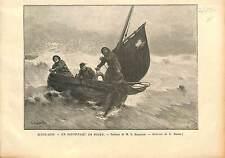 Sauvetage Rescue SHIPWRECK NAUFRAGE Georges Jean-Marie Haquette GRAVURE 1896