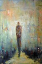 Large Abstract Painting - Modern Art on Canvas Man in the Maze 36x24 by BenWill