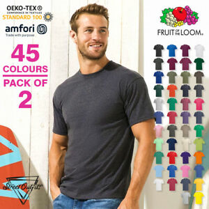 2-Pack Mens Cotton T-Shirts Fruit Of The Loom Crew Neck Short Sleeve Tees S-5XL