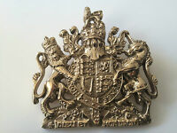 Royalist Polished Brass Royal coat of arms sign plaque , Royal crest wall hanger