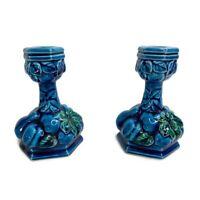 Vintage Inarco 1960s MOOD INDIGO E3563 Blue Fruit Candle Stick Holders Set Japan