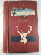 Vintage Photo Album Cloth Cover Celluloid Elk Buck Deer Stag Hand Painted Motif
