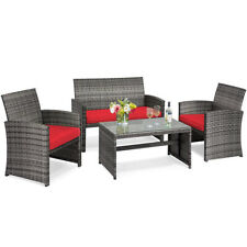 4PCS Patio Rattan Furniture Set Conversation Glass Table Top Cushioned Sofa Red