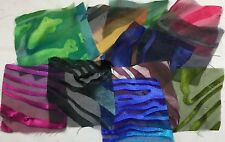 Silk Fabric Sample Set Squares Lot HAND DYED DEVORE BURNOUT SATIN 12 pcs