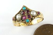 ANTIQUE ENGLISH VICTORIAN ERA 15K GOLD RUBY PEARL & TURQUOISE RING c1872