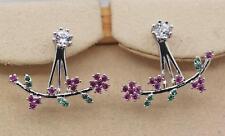 18K White Gold Filled - Rose Topaz Clover Flower Leaf Post-hanging Stud Earrings