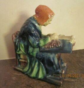 VINTAGE MAJOLICA  WOMAN SITTING WEAVING HANDWORK