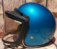 Vintage Javelin Blue Motorcycle Helmet Size L/XL Open Face w Bubble Shield