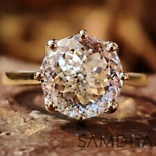 Engagement ring 3.21 CT Round Cut Colorless Moissanite 14k Yellow Gold Ring