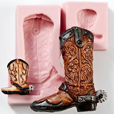 Silicone Mould Mold Cowboy Boot Set Fondant Chocolate Polymer Clay Soap  (207)