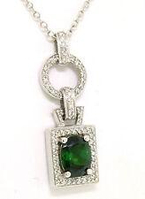 14k ORO BLANCO 3.56ctw Verde Turmalina & Diamante Fino ELEGANTE COLLAR CON