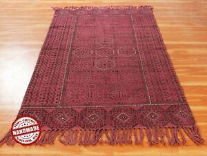 Indian Hand Block Print  Dhurrie Living Room Rug Handwoven Cotton Carpets