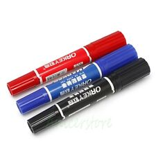 3pcs Different Color Thick (7mm)+ Thin (1.5mm) Both Ends Permanent Marker Pen