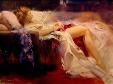 Oil painting female portrait sweet-repose girl sleeping on sofa Hand painted