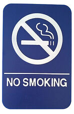 NO SMOKING Sign ADA Compliant  w/Braille Blue Public Accommodation Facilities