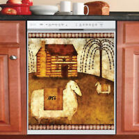 Beautiful Country Decor Kitchen Dishwasher Magnet - Primitive Folk Art Design #2