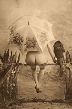 ANTIQUE FRENCH NUDE REAR VIEW PARASOL DOG FINE VINTAGE WOMAN BUTT SIT  PHOTO