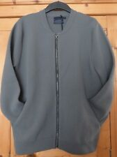 Mens Grey TOPMAN Jersey Bomber Jacket Size Medium