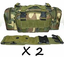 2 X Molle Woodland Camo Survival Camping SWAT Military Bug Out Bag Pack Pouch