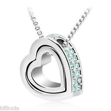 Platinum Plated Swarovski Elements Crystal Clear Double Heart Necklace Pendant