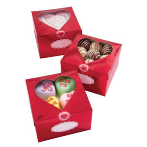 Wilton 3pk Red Metallic Valentine Heart Treat Cake Cnady Confectionary Boxes