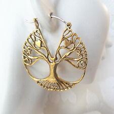 Tree of Life Brass Hoop Earrings with .925 Sterling Silver Hook Boho Jewelry