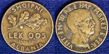 0.05 LEK 1940 R VITTORIO EMANUELE III ALBANIA #3928