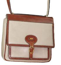 BALLY Almond Tan Pebbled Leather Flap Saddle Bag Crossbody w/British Tan Trim
