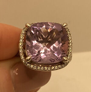 Cushion Cut Pink Amethyst Sterling Silver Cocktail Ring Top Gem Quality Size 8