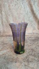 Circa 1920s KRALIK BohemianCzech Art Glass Tumbler Deco Blue Threads GreenPulled