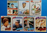 Vintage 1970 1980 Topps Old Baseball Cards 7card HOF Lot '70 Reggie Jackson #459