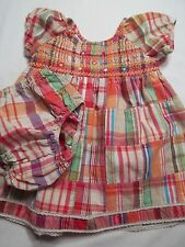 The Children's Place 3-6 Month plaid patchwork madras dress with diaper cover