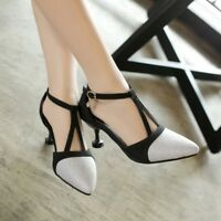 Womens T-Strap Buckle Mixed Color Pointed Toe Pumps High Heels Party Shoes Prom